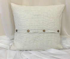 Linen Ticking Striped Euro Sham Cover with Wooden Button Closure
