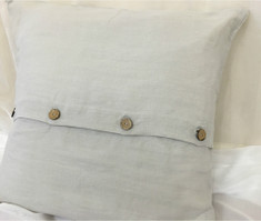 Stone Grey Euro Sham Cover with Wooden Button Closure