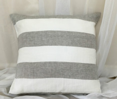 Grey and White Cabana Stripe euro sham