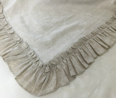 Linen Ticking Striped Euro Sham with Natural Linen Ruffles in Vintage Style