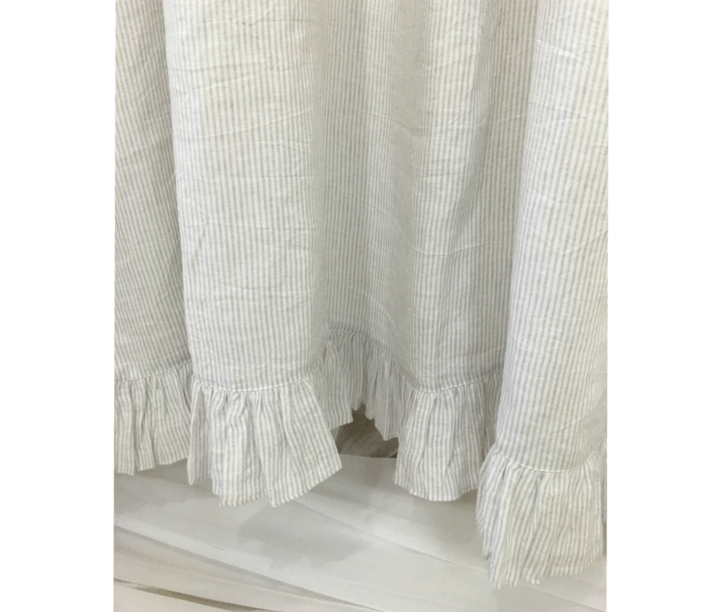 Stone Grey and White Ticking Striped Linen Shower Curtain with ...