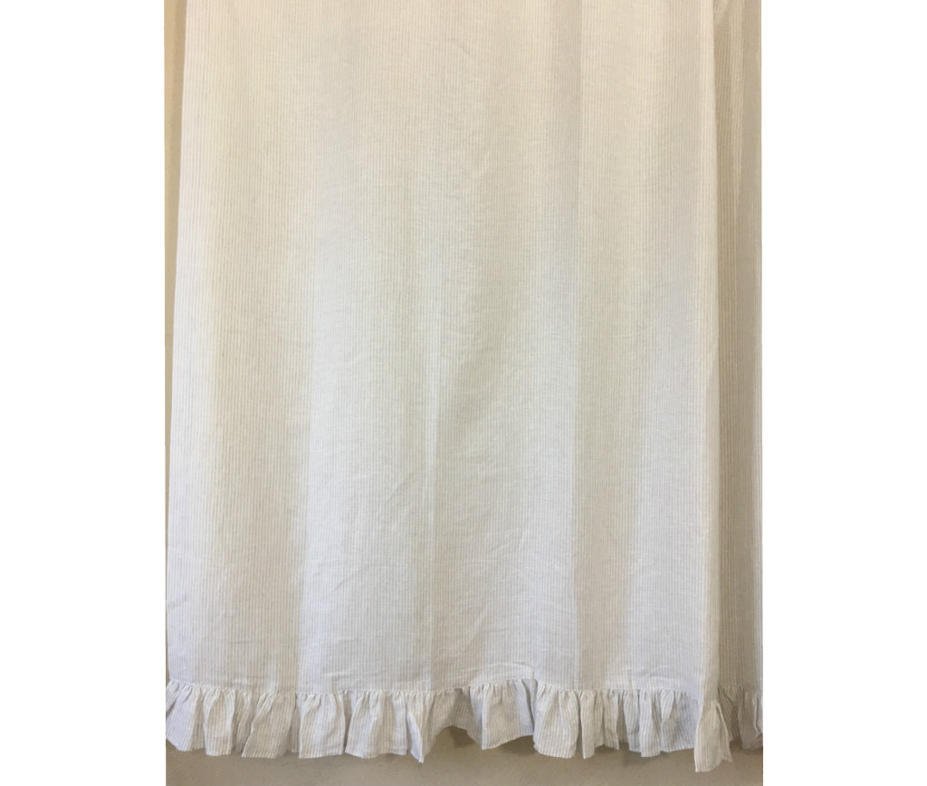 ... Ticking Striped Ruffled Shower Curtain; Image 6