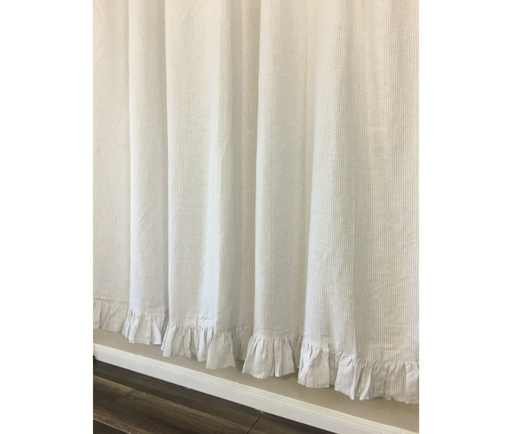 light grey and white striped shower curtain