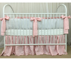 Stone Grey Ticking Striped Bumper, Pink Sash Ties and Pink Skirt, Crib Bedding Set