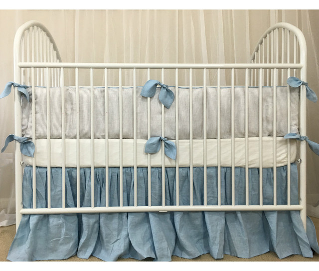 Stone Grey Ticking Striped Bumper, Blue Leaf Shaped Ties and Blue Skirt, Crib Bedding Set