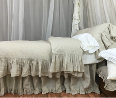 Natural Linen Duvet Cover with Mermaid Long Ruffle