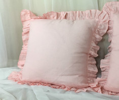 Pink Ruffle Euro Sham Cover
