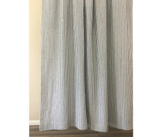 Navy and White Striped Linen Shower Curtain