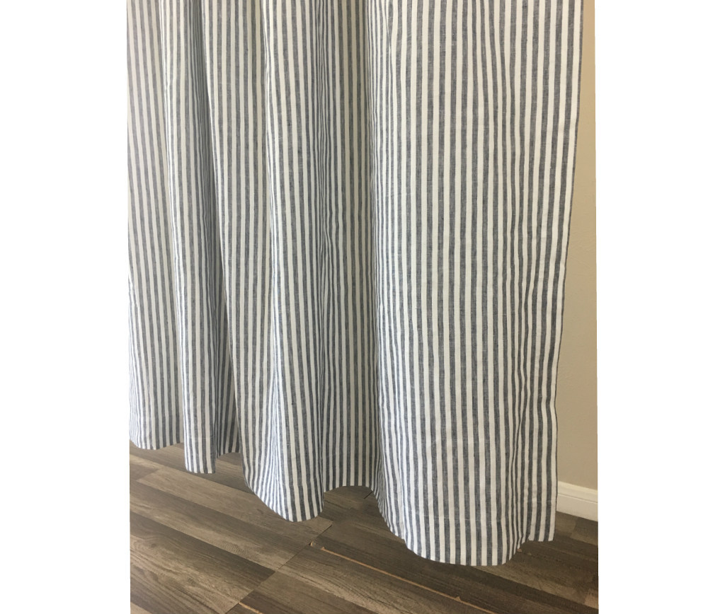 Grey White Striped Shower Curtain.  Striped linen shower curtain blue and white Image 3 4 Navy White Shower Curtain Handcrafted by