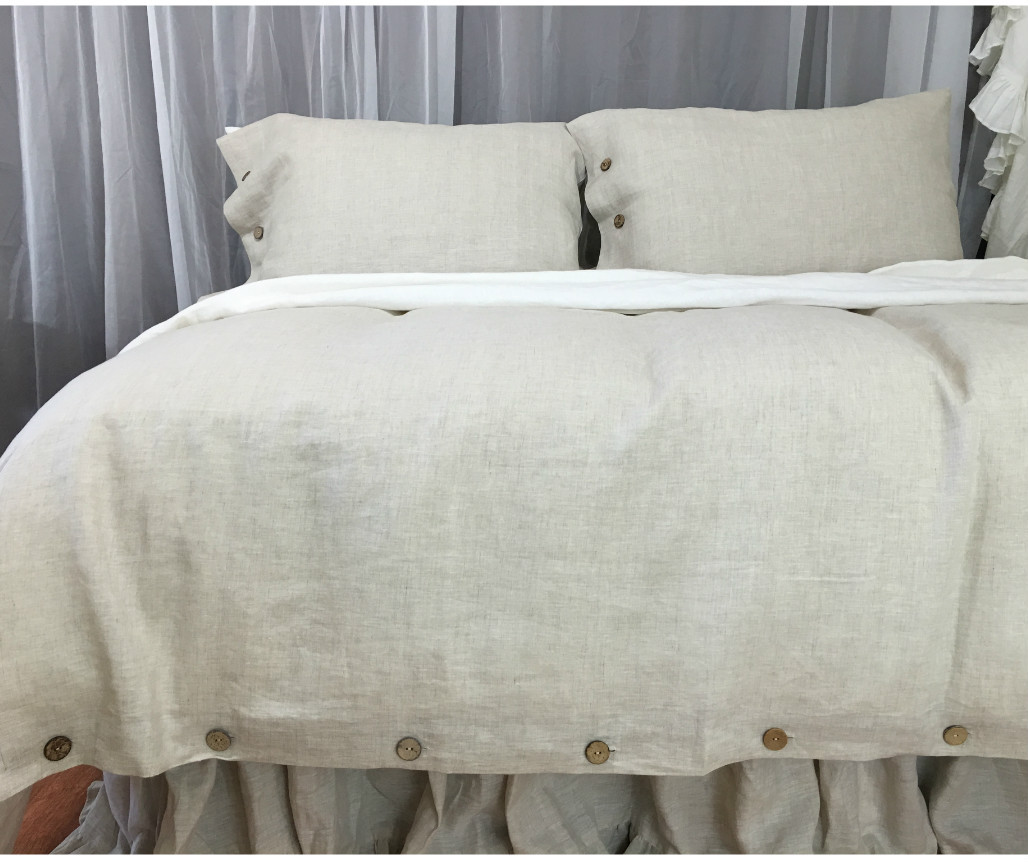 Natural Linen Duvet Cover With Wooden Buttons Custom Size