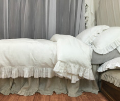 Soft white ruffle duvet cover with lace