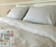 Natural Linen Striped Duvet Cover - Pick Your Color