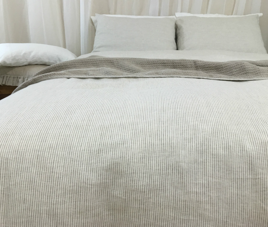 ... Linen ticking striped duvet cover ...