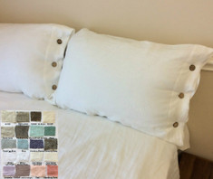 Linen Duvet Cover with Wooden Buttons - over 40 color, pattens
