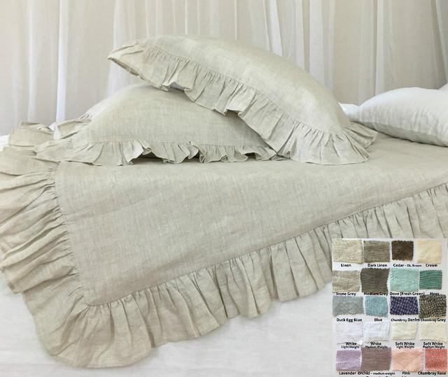 ruffle duvet cover - natural linen