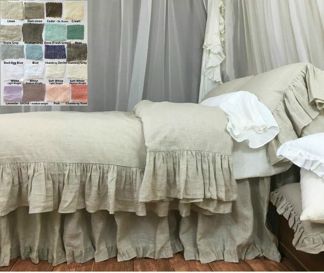 Linen Duvet Cover with Mermaid Long Ruffle - natural linen