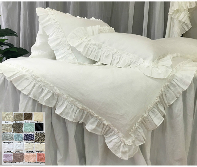 linen duvet cover with vintage ruffles style - 40+ colors/patterns