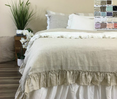 Linen Duvet Cover with Country Ruffle
