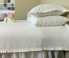 Pleated Ruffle Duvet Cover - white linen