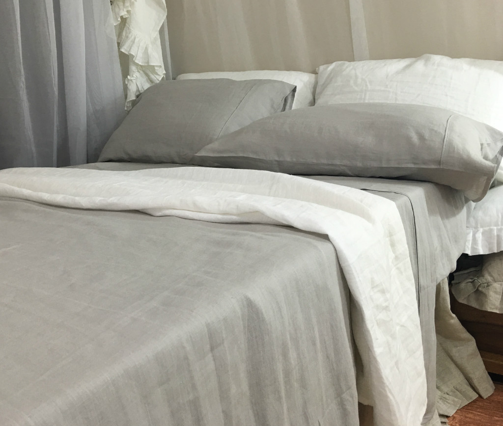 Linen Bed Sheets Set White Grey Cream Pink Blue