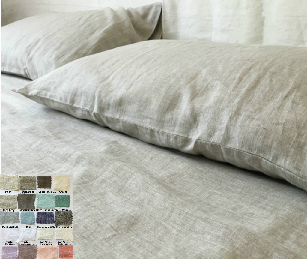 Linen Bed Sheets Set White Grey Cream Pink Blue