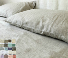 Linen Top Sheet, Fitted Sheet  - natural linen