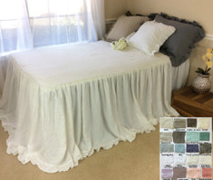 Bedspread With Cinderella Ruffle Hem - white linen