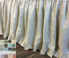 Gathered Bed Skirt with Ruffle Hem - natural linen