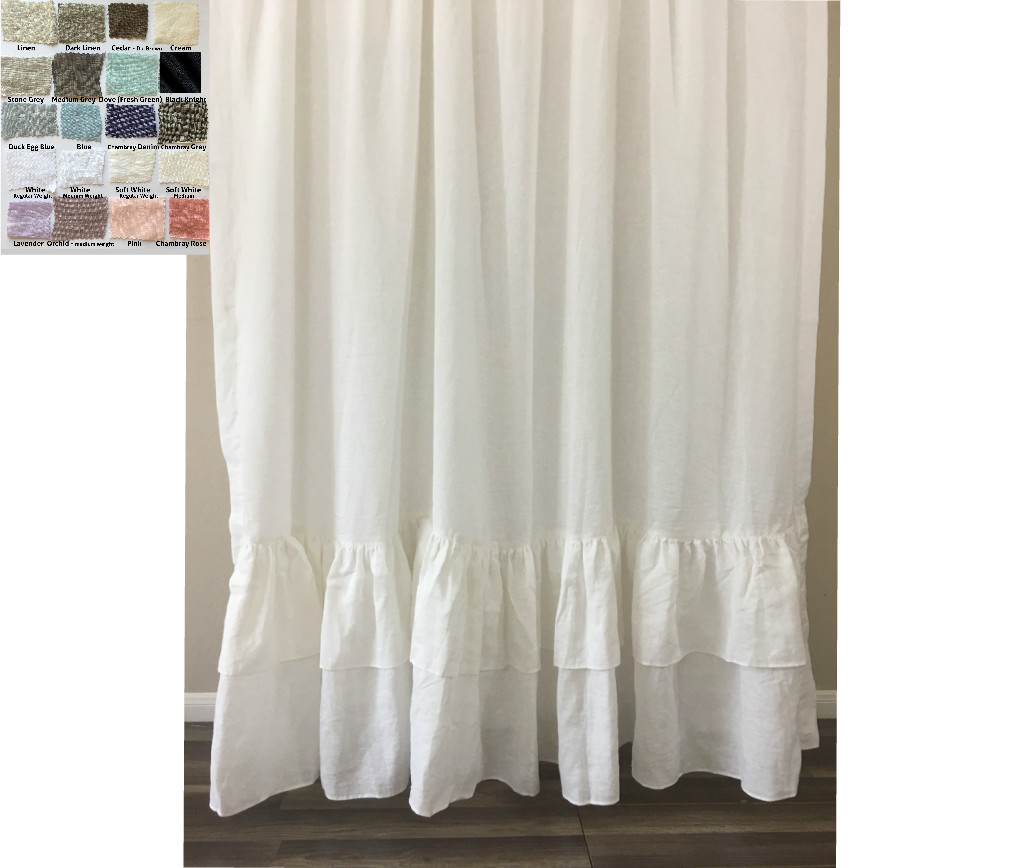 Natural Linen Curtains with Double Layer Mermaid Ruffle Hem, multiple  colors ...