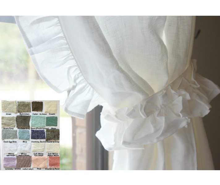 Curtain Leading Edge Ideas: Natural Linen Curtains With Leading Edge Ruffles