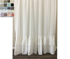 Linen Shower Curtain with 2 rows of Mermaid Long Ruffles - White, Gray, Blue, Pink, Stripe, Chevron, over 40 colors and patterns