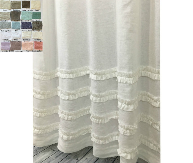 Linen Shower Curtain with 4 Rows of Ruffles - white linen