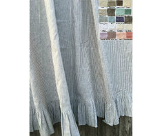 Linen Shower Curtain with Ruffle Hem - ticking stripe