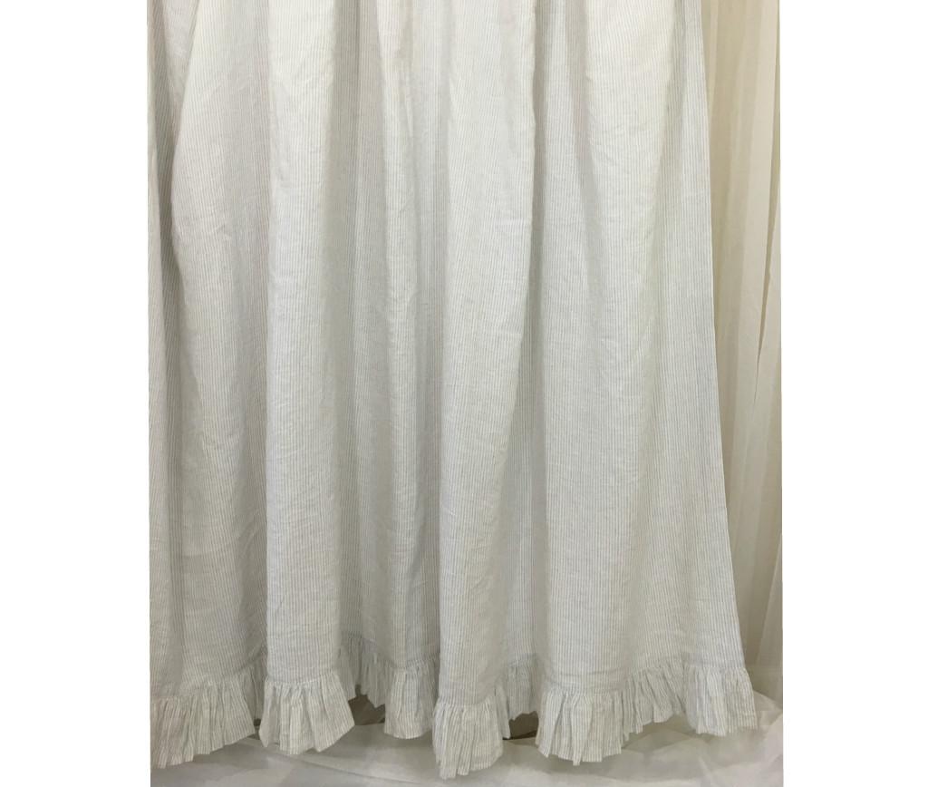... Linen Shower Curtain With Ruffle Hem   Grey Stripe ...