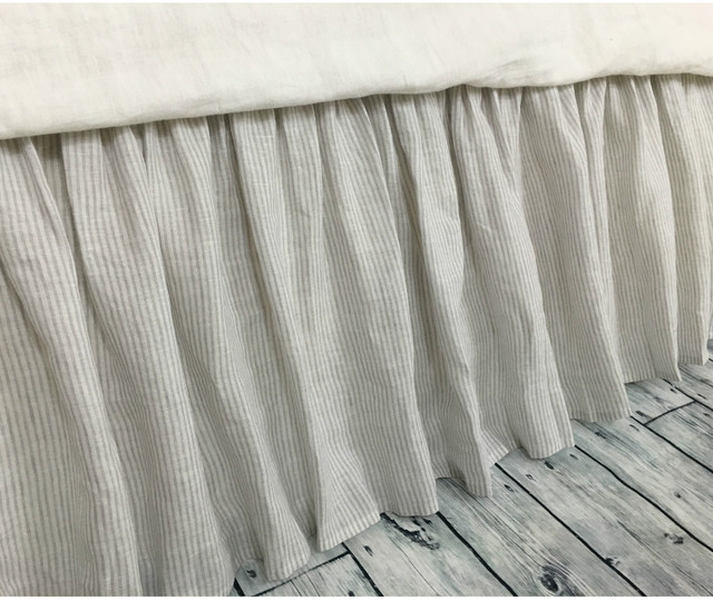 stone gray ticking stripe bed skirt ticking stripe dust ruffle country bed skirts 15 24. Black Bedroom Furniture Sets. Home Design Ideas