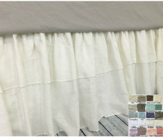Linen bed skirt with double ruffle – White, Gray, Blue, Pink, Stripe, Chevron, over 40 colors and patterns