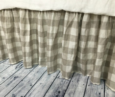 Buffalo Check Gathered Linen Bed Skirt