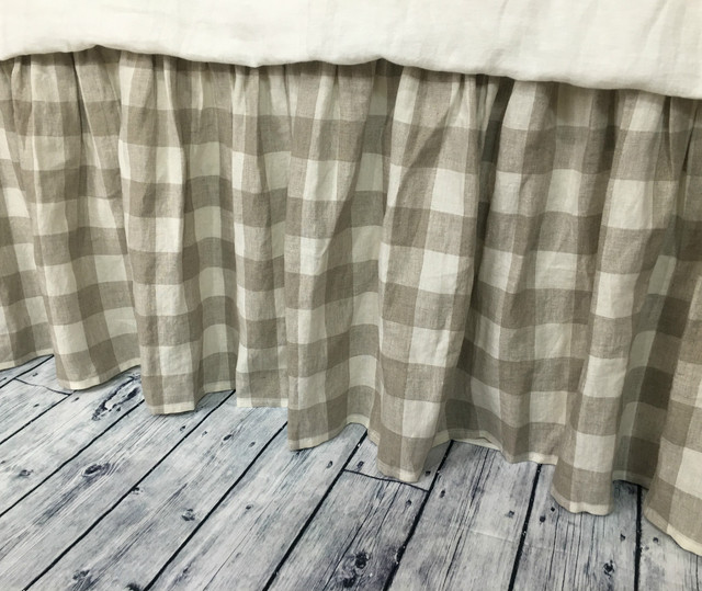 Buffalo check bed skirt, Country bed skirts, Plaid bed ...
