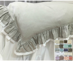 Linen Ruffle Duvet Cover with White Lace Hem -White, Gray, Blue, Pink, Stripe, Chevron, over 40 colors and patterns, lace duvet cover