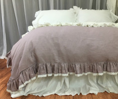 Orchid linen ruffle duvet cover with lace hem