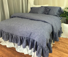 Chambray Denim Duvet cover with Mermaid Long ruffles
