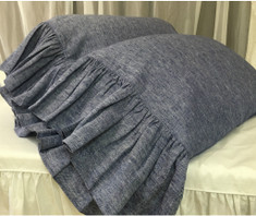 long ruffle denim blue pillow covers