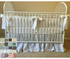 Crib bedding set, White, Gray, Blue, Pink, Stripe, Chevron, over 40 colors and patterns