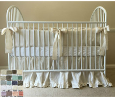 Baby Bedding Set with Sash Ties, Ruffled Crib Skirt - White, Gray, Blue, Pink, Stripe, Chevron, over 40 colors and patterns