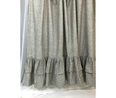 Chambray Grey Linen Curtains with Double Layers of Mermaid Long Ruffles