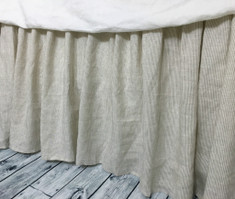 Linen ticking stripe bed skirt, Gathered Bed Skirt,