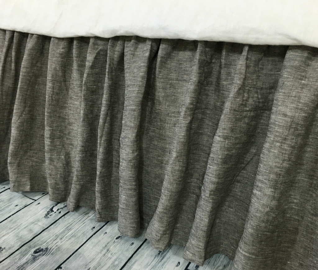 chambray grey bed skirt gathered bed skirt available in twin full queen king calif king. Black Bedroom Furniture Sets. Home Design Ideas