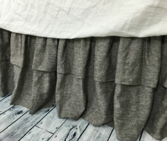 Chambray Grey Bed Skirt with Double Layer Ruffles