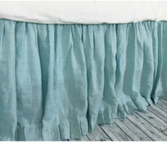 Dove Linen Bed Skirt with Ruffle Hem