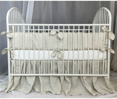 Linen Ticking Stripe Baby Bedding Set with Crib Bumpers with Leaf Shaped Ties and Gathered Crib Skirt